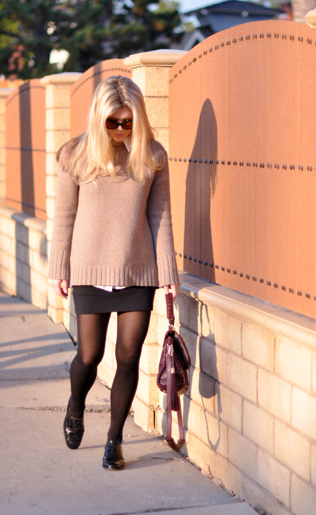 cashmere sweater with mini skirt- oxfords