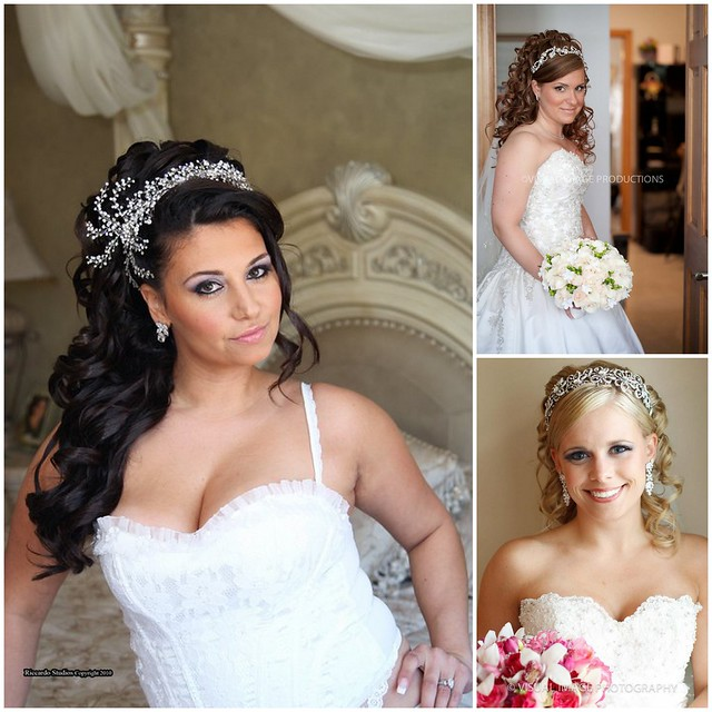Bridal Styles Boutique brides with half up, half down hairdos