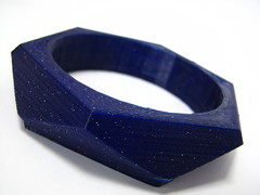 Chunky Bracelet in Galaxy Blue (2) (faberdasher) Tags: blue glitter sparkle translucent pla printmaterial 3dprinting 2011 reprap plasticfilament galaxyblue makerbot faberdashery