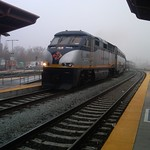 Amtrak rolls in to a foggy San Jose station thumbnail