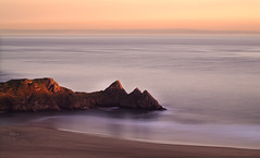 3 Cliffs Bay (Che Birch-Hayes Photography) Tags: sunset seascape beach water southwales wales photoshop 50mm march spring post hills processing coastline gower manualfocus magichour tides goldenhour threecliffsbay ndfilter 10stop 3cliffsbay bw10stopndfilter ihdr pentaxk5 orangepinksunset