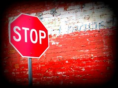 Stop Sign (BlackAndBlueBeauty) Tags: brick sign wall montana butte uptown stop