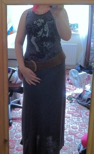 Darcy Knotted Maxi Dress in Charcoal With New Look Belt