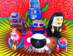 Barky's Toy Story (Baky) Tags: blue red orange abstract color colour green art colors japan metal fun toy toys weird colorful pattern colours arty artistic circles patterns religion jesus fake kitsch robots tacky psychedelic wacky cartoonish iphone barky  baky barkyvision