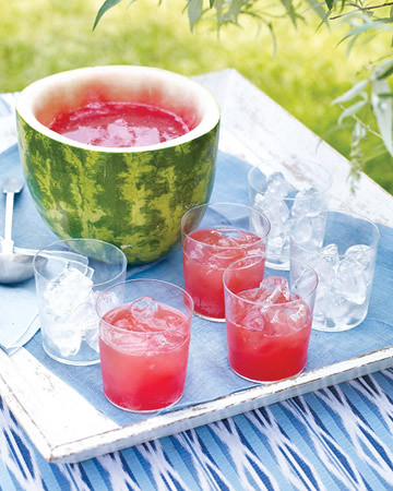 2 Martha Stewart-Watermelon Punch Drink in Watermelon Idea