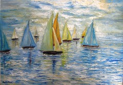 Sails at sea. (Il colorista) Tags: blue sea summer italy sun holiday color boats europa europe italia mare colore estate blu sails competition barche canvas oil sole vacanza spatula olio tela    vele  competizione   spatola