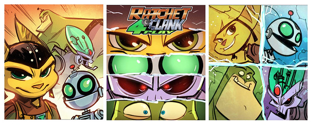 Ratchet & Clank All 4 One pre-release box art: Static Heroes