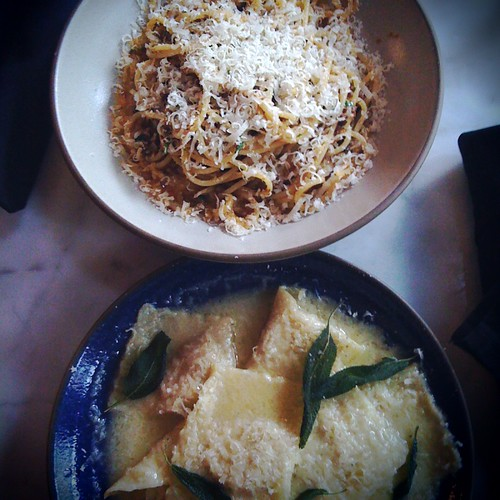 Housemade pasta: spaghetti bolognese and squash ravioli in sage butter at Uva Wine Bar  in Vancouver, BC by Melody Gourmet Fury