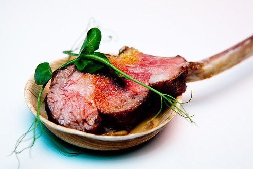 "Joe Isidori from Southfork Kitchen: Australian Rack of Lamb ""Au Poivre"" with Buttermilk Blue Cheese Fenugreek"