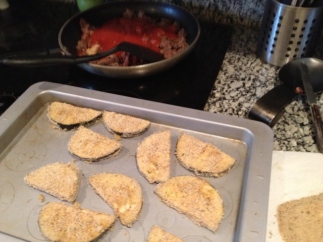 Eggplant parmesan prep
