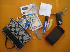 In My Wallet (elkit) Tags: keys coach fiat wallet purse easy simple magnifier discardia iphone wristlet inmypurse lightenyourload inmywallet travellight whaticarry paringdown