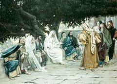 James Tissot (+1902), Jesús hostigado por los fariseos