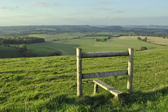 A Dorset View (dawn.v) Tags: uk england green fence landscape october view path landmark highpoint dorset fields viewpoint stile greenfields wingreenhill fontmellandmelburydowns