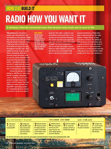 Wifi Radio mention in Popular Science – October 2011
