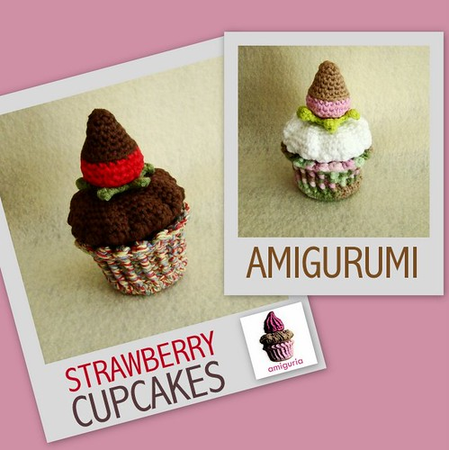 Strawberry Cupcakes Amigurumi by Amiguria by Amiguria