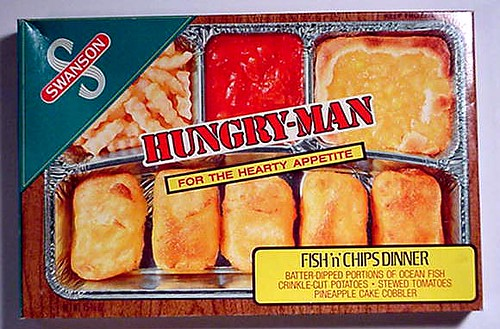 1970s swanson hungry man fish and chips tv dinner