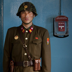 North Korean soldier at the DMZ - North Korea (Eric Lafforgue) Tags: soldier army war uniform asia helmet korea asie coree dmz northkorea armee dprk coreadelnorte northkorean nordkorea 8713    coreadelnord   insidenorthkorea  rpdc  kimjongun coreiadonorte