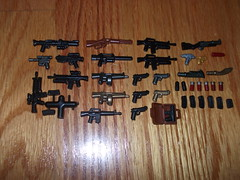 All My Protos :P (Arabrick) Tags: shells lego military scifi magazines shotgun pistols m16 thumper prototypes m9 aa12 brickarms