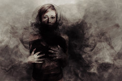 Ink (mickiky) Tags: ink smoke nero black photomanipulation me myself selfportrait portrait remotecontrol autoscatto autoritratto ritratto velo veil voile tulle woman donna