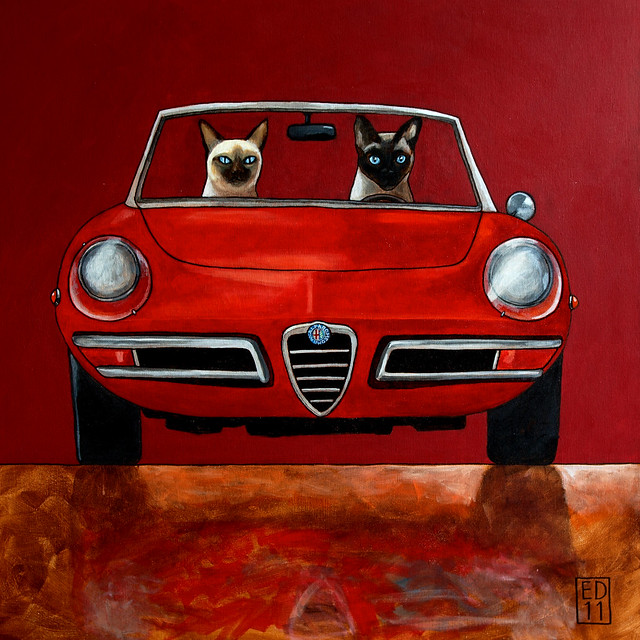 red classic 1969 painting chats italian katten feline acrylic siamese siamesecats darkred duetto edart alfaromeospider thelittledoglaughed edvanderhoek november2011