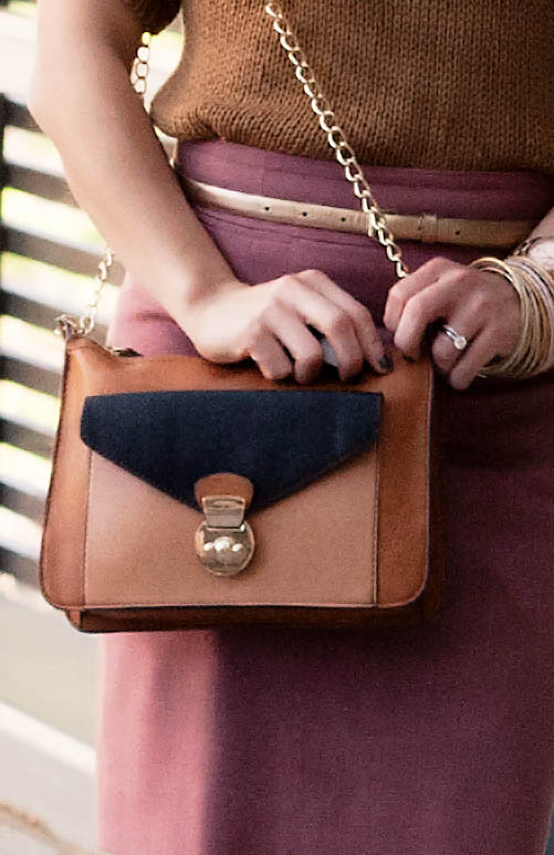 melie bianco colorblock party purse in tan