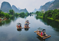 Way of life (A. adnan) Tags: mountain beautiful river landscape liriver nikon colours yangshuo rafting guangxi wayoflife boatmen bangladeshiphotographer riverandmountains d7000 aadnan613 gettyimageschinaq3 woodenrafts gettyimageschinaq12012