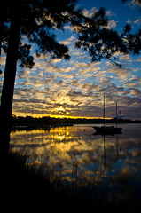 Drive To Work (MattGerlachPhotography) Tags: morning november water clouds sailboat sunrise reflections bay florida pinetrees mattgerlachphotography