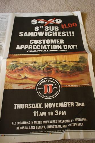 Jimmy John's $1 sub ad