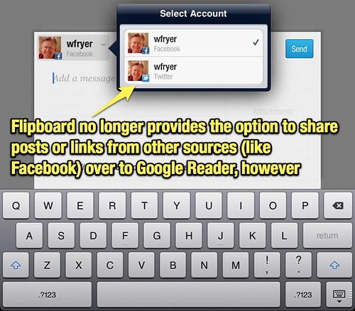 No cross-posting from Facebook to Google Reader from Flipboard