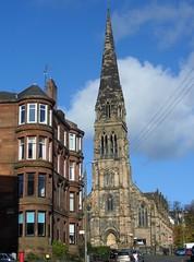 The view up Hyndland Street (Wider World) Tags: church scotland glasgow gothic steeple spire westend cottiers tenement partickhill cairddrive hyndlandstreet