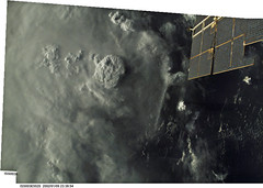 Thunderstorms over the United States (sjrankin) Tags: panorama clouds unitedstates edited nasa iss thunderstorms thundercell iss003
