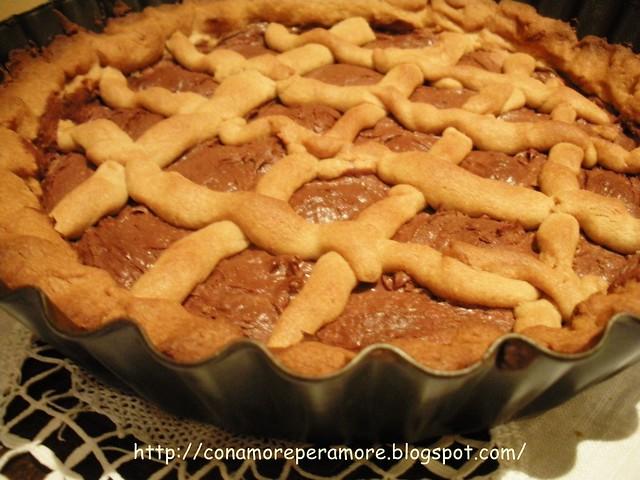 Crostata con frolla di farina castagne e nutella