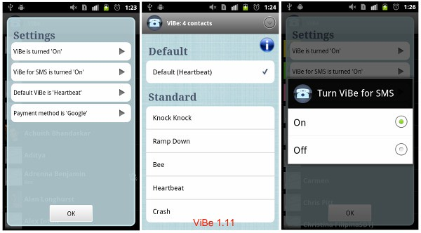 ViBe Adroid Vibration App Patterns SMS Vibrate Group Download