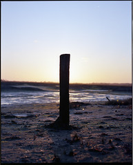 i'll keep you posted ([Photom]) Tags: sunset 120 mamiya film beach analog mediumformat eclipse sand post rz67 ektar