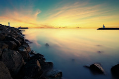 The Yellow Touch ( David.Keochkerian ) Tags: sunset sea mer lighthouse seascape france rock cap rocher agde herault