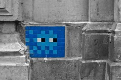 Space Invader (fourty two of fifty two) (Reckless Times) Tags: blue blackandwhite paris art tile grey artist spaceinvader invader selectivecolour tileart elementsorganizer