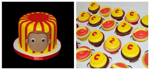 Red and Yellow Monkey themed cupcake tower