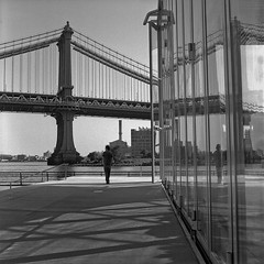 (Barry Yanowitz) Tags: nyc newyorkcity bridge blackandwhite bw ny newyork 6x6 film brooklyn mediumformat blackwhite kodak trix dumbo bridges 120film d76 manhattanbridge scanned gothamist filmcamera nycity selfdeveloped 718 brooklynbridgepark kodaktrix400 downunderthemanhattanbridgeoverpass rolleicordv empirefultonferry selfdeveloping d76developer mainstreetsection nprfilm