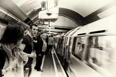 Anticipation (itsmarkinshanghai) Tags: leica uk england blackandwhite bw london subway metro unitedkingdom escalator tube streetphotography trains s londontown undergroundtrain thestreetsoflondon leicablackandwhite leicam9 peddletaxi