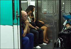 Subway people (zilverbat.) Tags: travel portrait people urban paris france canon underground subway 50mm focus waiting europ