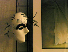 Mask (jimoliverphotography) Tags: life white black green art lines yellow wall sepia work grid for washington still beige soft gallery shadows oliver mask pacific northwest framed glue curves touch gray tan will eyebrow tips half strap wa tacoma straight tones harlequin elastic featheres
