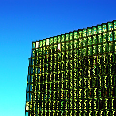 Green sheen (Arni J.M.) Tags: blue sky building green glass wall architecture geotagged iceland islandia shadows reykjavik edge geotag reykjavk sland islande islanda harpa nikond80 harpaconcerthall