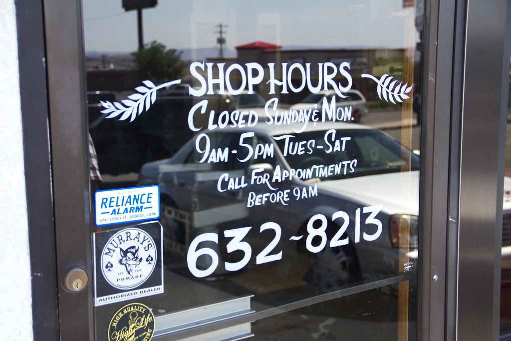 Daves Barber Shop Hand Painted WIndow Info