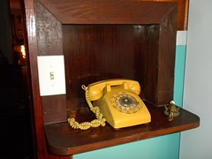 harvest gold rotary phone (plumaluna07@sbcglobal.net) Tags: old kitchen for phone nook rotary