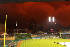 Red Storm (Mike Pierzynski) Tags: sanfrancisco storm rain night baseball detroit tigers redstorm geotag comericapark detroittigers sanfranciscogiants raindelay july2 pierzynski stormnight