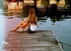 6/52. (Rebecca Mahoney) Tags: wood lake reflection water girl self dock sitting