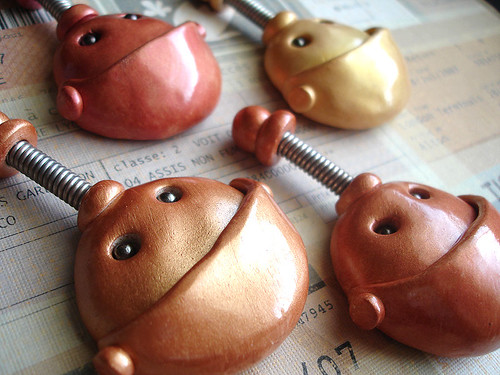 Metallic Plump Face Robot Heads | Magnets by HerArtSheLoves