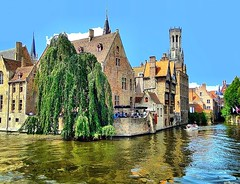 The beauty of medieval canal city Bruges (jackfre2 (on a trip-voyage-reis-reise)) Tags: houses summer tree clouds boat canal belgium terrace bluesky bruges hdr flanders tourboat wow1 wow2 wow3 goldenreflections colorphotoaward mygearandme mygearandmepremium ringexcellence dblringexcellence aboveandbeyondlevel1 aboveandbeyondlevel2