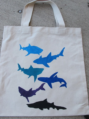 Freezer paper stenciled canvas bag