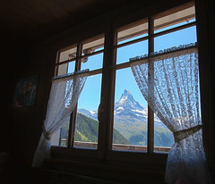 The view, Findeln HDR (Vibrimage) Tags: alps window switzerland view bluesky skiresort glaciers matterhorn hdr traditionalarchitecture netcurtains findeln greatview woodenhouses traditionalbuilding alpinesummer